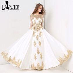 Laiputer 2018 Koleksi Formal Muslim Gading dan Emas Renda Manik-manik Kristal Lengan Panjang Mewah Vintage Arab Evening Prom Dress