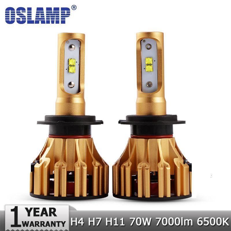 Oslamp SMD Chips 70W/pair H4 Hi lo Beam H7 H11 LED Headlight Bulbs 7000LM <font><b>6500K</b></font> 12v 24v Car Auto Headlamp Kits Fog Light Lamps