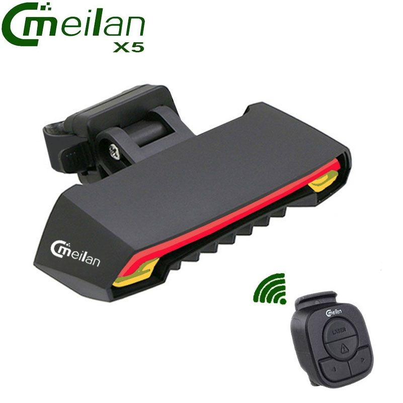 Meilan X5 Wireless Bike Bicycle Rear Light laser <font><b>tail</b></font> lamp Smart USB Rechargeable Cycling Accessories Remote Turn led