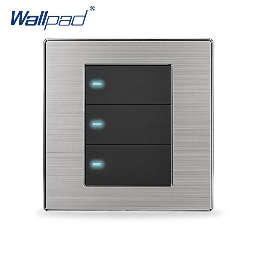 2019 offre spéciale 3 Gang 1 voie applique murale Interrupteur Wallpad luxe bouton poussoir commutateurs indicateur LED Interrupteur 10A AC 110 ~ 250V
