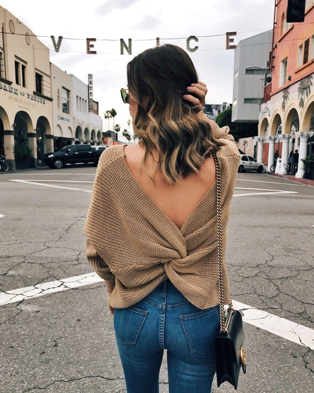 Women Sexy Back V Neck <font><b>Cross</b></font> Twisted Sweaters Pullovers 2017 Winter New Oversized Long Sleeve Knitted Jumper Knitwear Pull Femme
