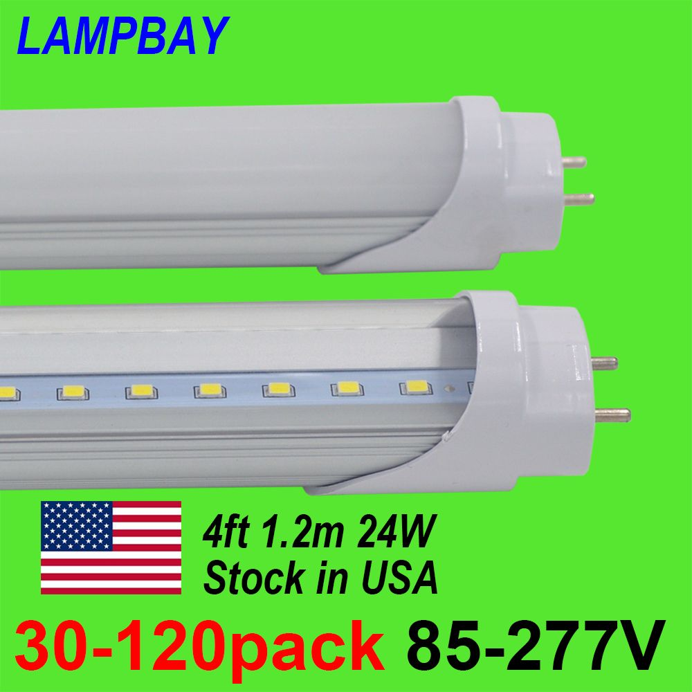 30-120pcs LED Tube Bulb 4ft 120cm 24W T8 G13 Bi-pin Fluorescent Lamp 4 foot 48