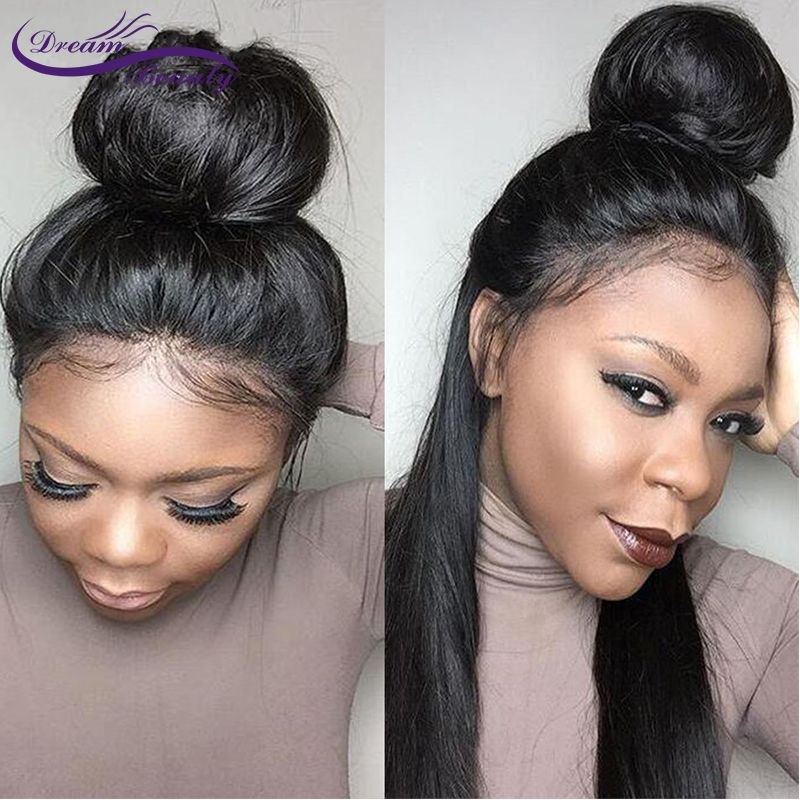 Dream Beauty 150 Density remy Brazilian silky Straight Pre Plucked 360 Lace Frontal Wig With Baby Hair Bleached Knots
