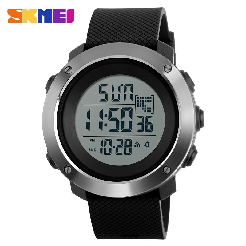 SKMEI Men Sports Watches Chrono Double Time Digital <font><b>Wristwatches</b></font> 50M Water Resistant LED Display Watch Relogio Masculino 1268