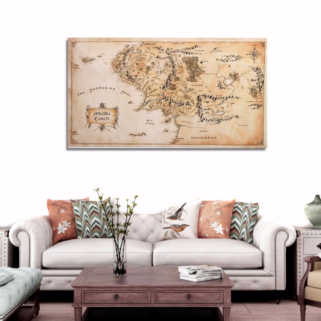 110x60cm Vintage Middle Earth World Map Silk Cloth Poster Home Office Decoration Wall <font><b>Sticker</b></font> Mayitr Hot Selling