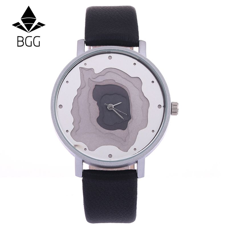 Nuevo diseño de moda relojes mujeres 5 pisos dial único reloj 2017 BGG marca femenina creativa cuarzo mujer del reloj banda de cuero