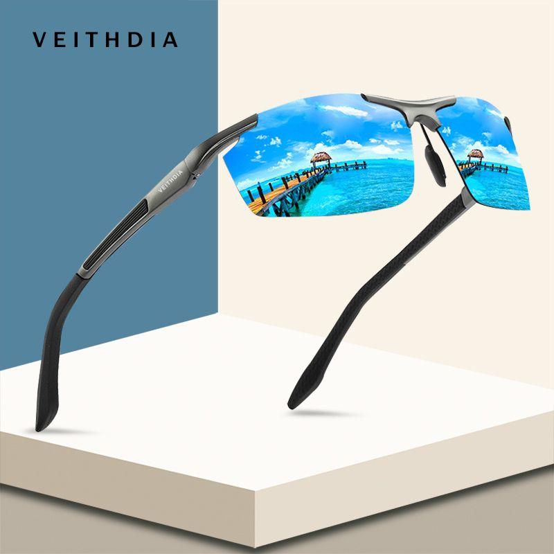 VEITHDIA Aluminium Et De Magnésium lunettes de soleil de sport Polarisées Hommes Revêtement Miroir Conduite lunettes de soleil oculos Homme accessoires lunettes