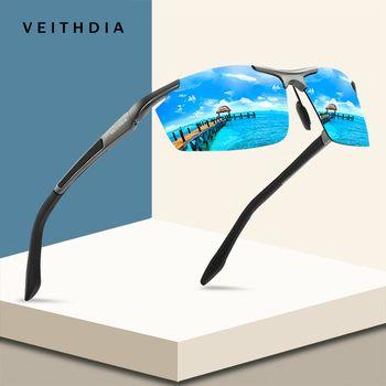 VEITHDIA Aluminum Magnesium Sport Sunglasses Polarized Men Coating Mirror Driving Sun Glasses oculos Male Eyewear Accessories