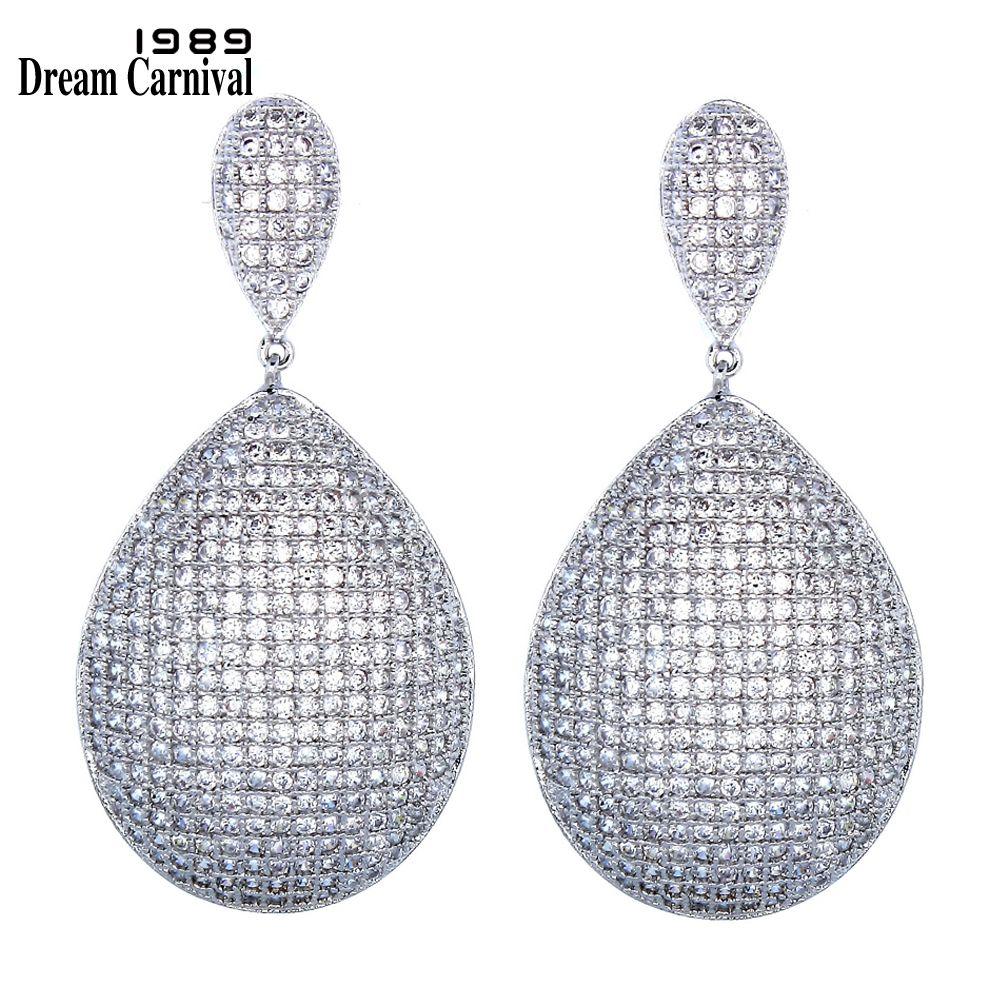DreamCarnival 1989 Long Pretty Drop Earrings for Women Wedding Party White Cubic Zirconia Wholesale Brincos Jewelry Earing 65042