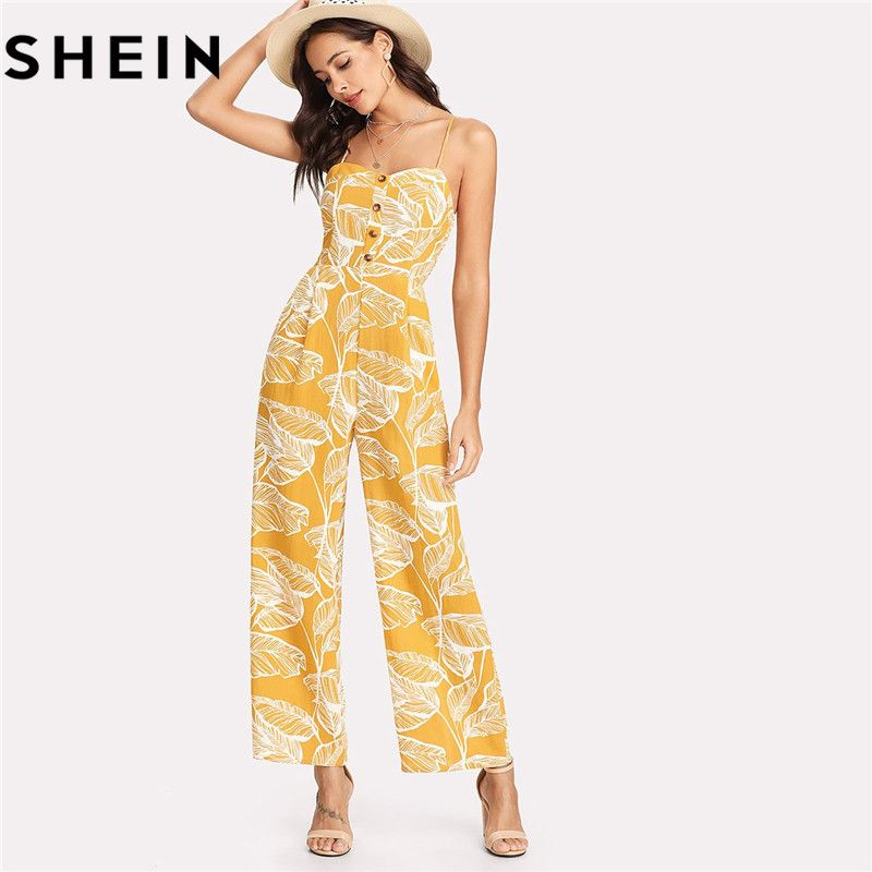 SHEIN Summer Vacation 2018 Spaghetti Strap Boho High Waist Tropical Palm Leaf Print Shirred Wide Leg Cami Palazzo Women Jumpsuit