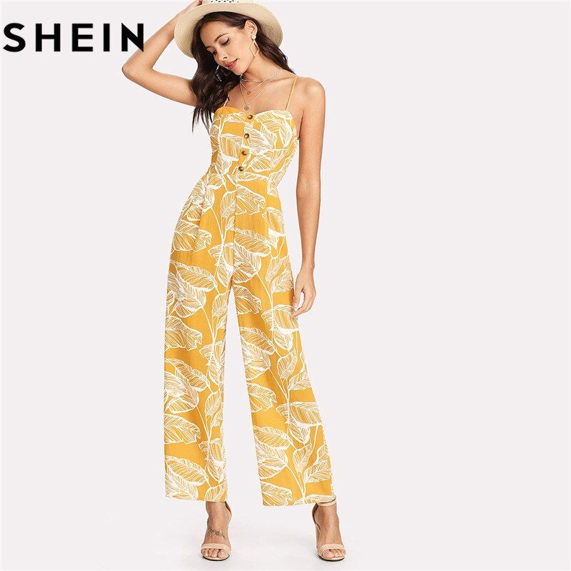 SHEIN Summer Vacation 2018 Spaghetti Strap Boho High Waist Tropical Palm Leaf Print Shirred <font><b>Wide</b></font> Leg Cami Palazzo Women Jumpsuit