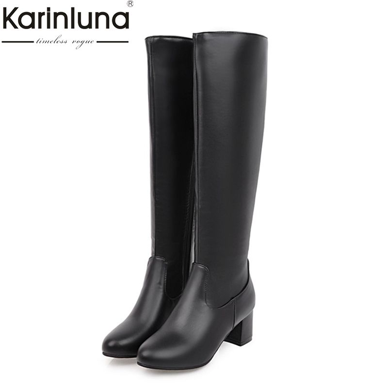 KARINLUNA Big Size 31-45 Fashion Knee High Boots Square Heels Add Warm Plush Winter Riding Boots Women Shoes Woman Black White