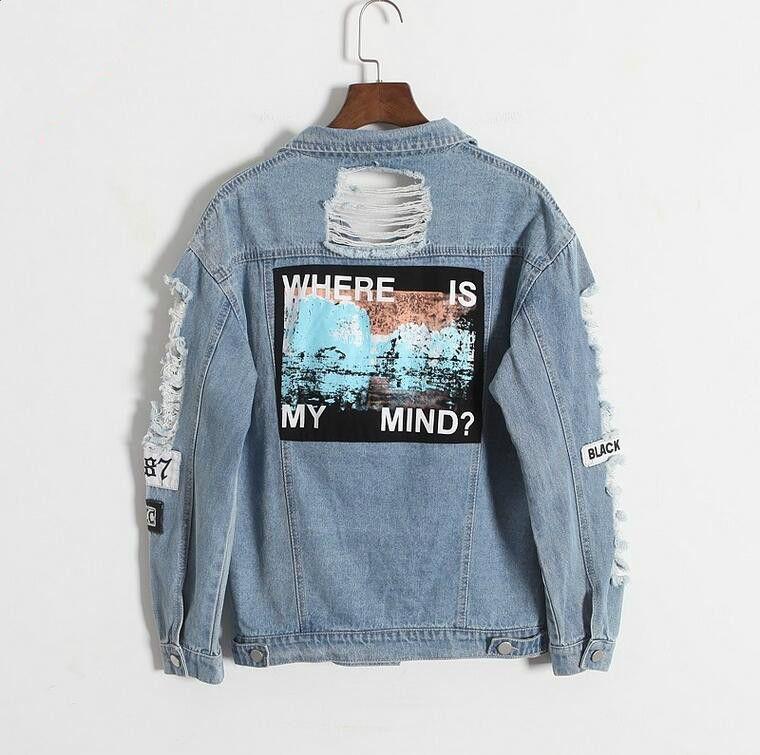 Где мой ум? Корея ретро ручная стирка с бахромой с вышитыми буквами Patch Bomber Jacket Синие рваные проблемных джинсовая куртка женская