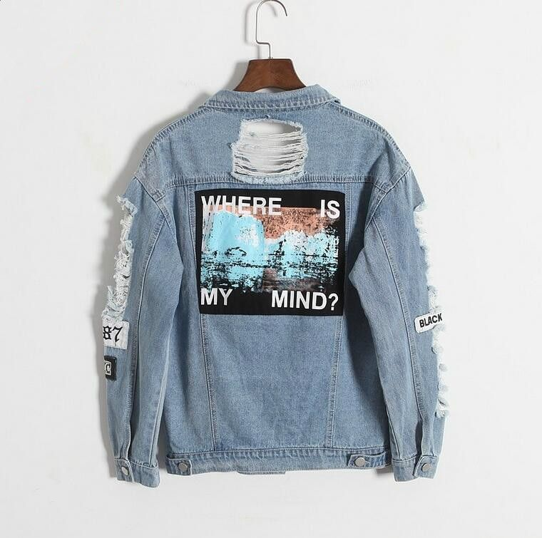 Where is my mind? Korea retro washing frayed embroidery letter patch bomber jacket Blue Ripped Distressed Denim Coat Female