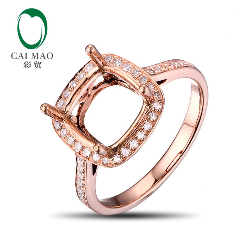 Caimao 8.5mm Cushion Natural Pave Diamond 14kt Rose Gold Engagement Semi Mount Ring New