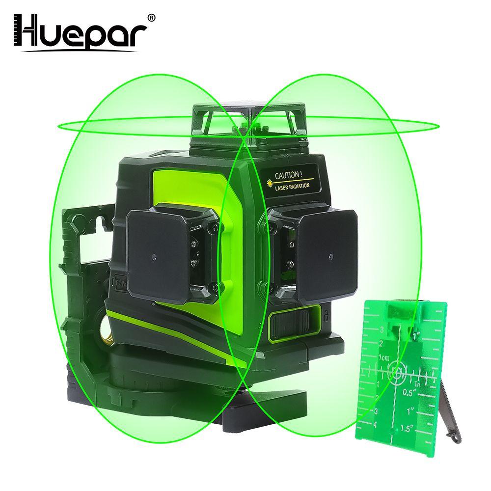 Huepar 12 Lines 3D Cross Line Laser Level Self-Leveling 360 Degree Vertical & Horizontal Cross Green Red Beam Line USB Charging