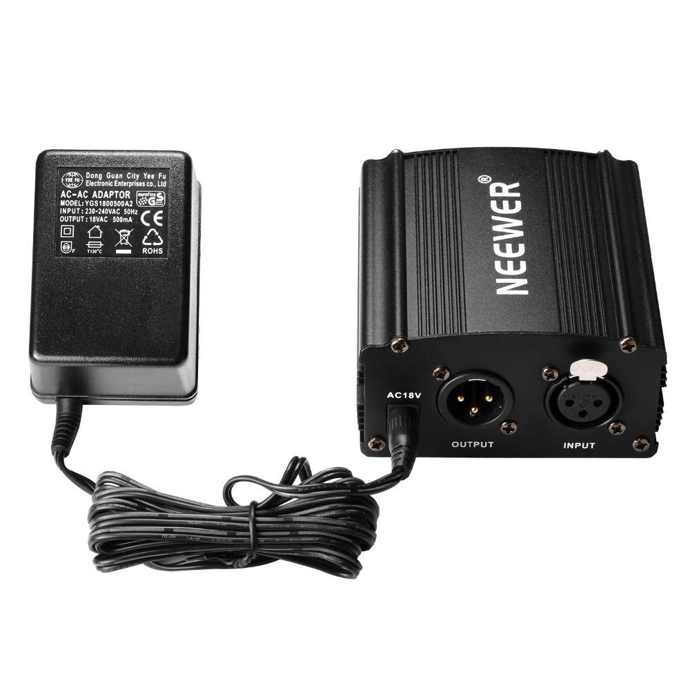 Neewer 1 canal 48 V alimentation fantôme + adaptateur + un câble Audio XLR pour tout enregistrement de Microphone à condensateur