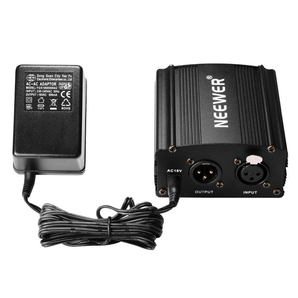 Neewer 1-<font><b>Channel</b></font> 48V Phantom Power Supply+Adapter+One XLR Audio Cable for Any Condenser Microphone Recording
