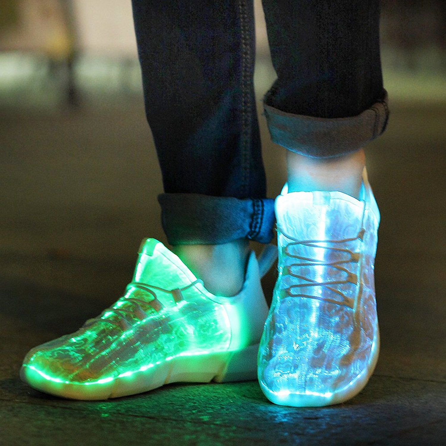 KRIATIV Luminous Sneakers Glowing Light Up Shoes for Kids White LED Sneakers Children Flashing Shoes with Light for Adult&Kid
