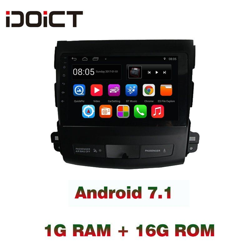 IDOICT Android 7.1 Car DVD Player GPS NAVIGATION Multimedia For Mitsubishi outlander radio 2007-2012 WIFI Bluetooth RDS
