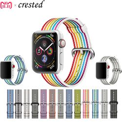 CRESTED Sport woven nylon strap for apple watch band 42mm 38mm 44mm 38mm bracelet wrist belt watchband for iwatch 4/3/2/1