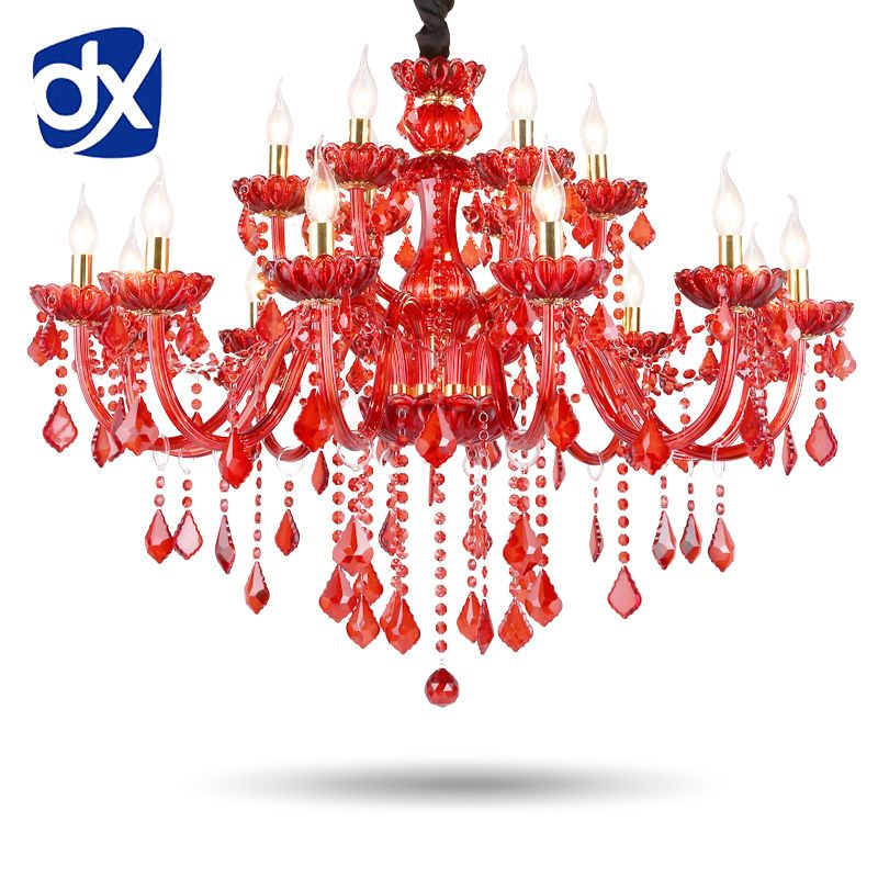 High Quality Red K9 Crystal Chandelier Lustre Crystal Chandeliers Light Lustres De Cristal Chandelier LED Villa Red Lamp