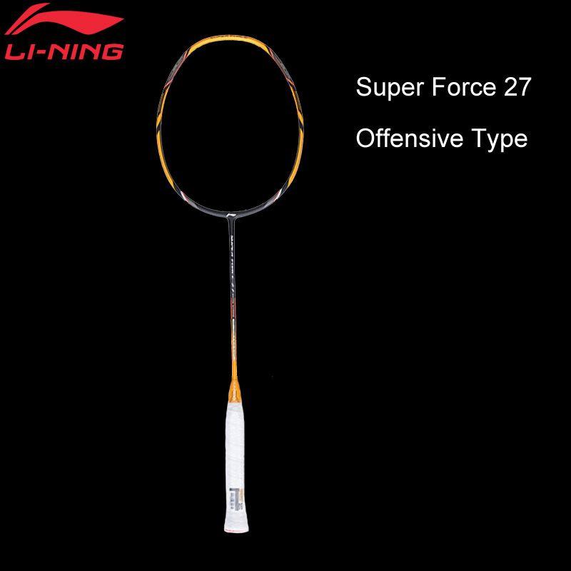 Li-Ning Super Kraft 27 Badminton Schläger Einzigen Schläger Carbon Fiber Hohe Zug Dünne Welle Futter Schläger AYPM222 ZYF210
