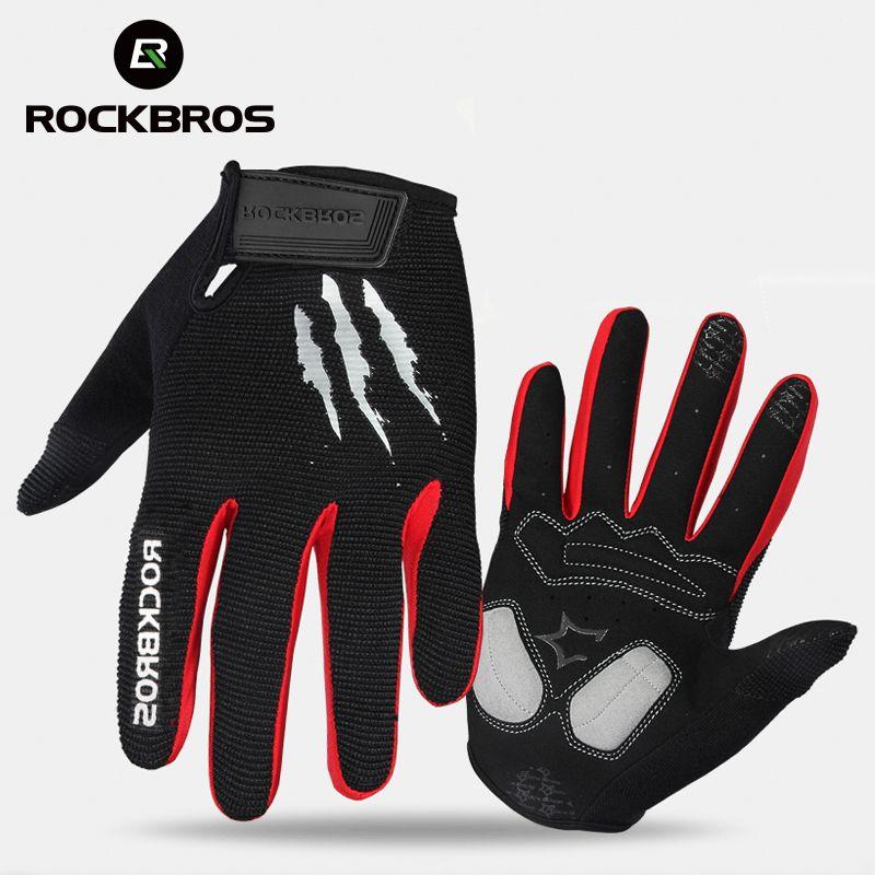 ROCKBROS gants de cyclisme éponge Pad Long doigt moto gants pour vélo VTT gant écran tactile gants de VTT