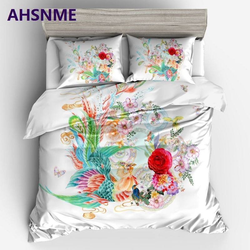 AHSNME Bright Flowers Bedding Set Chinese Fantasy Animals Beautiful Phoenix and Blooming Flowers Duvet Cover King Home Textiles