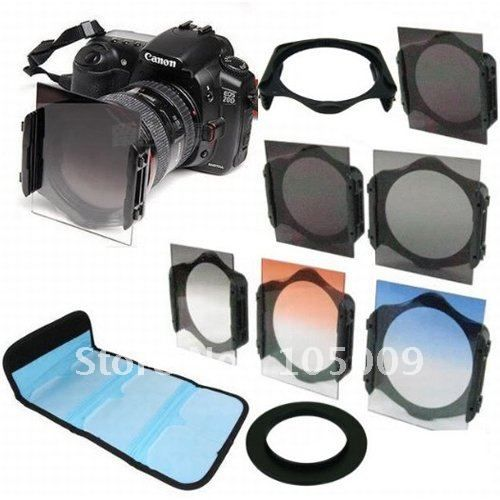 49 52 55 58 62 67 72 77 82 mm ring+Square Graduated Orange Blue grey+ND2/ND4/ND8 lens filter for Cokin P series Adapter