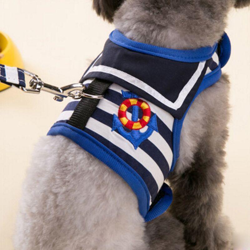 Marine Style réglable doux respirant chien harnais maille gilet harnais pour chiens chiot chat collier animaux de compagnie sangle de poitrine laisse ensemble