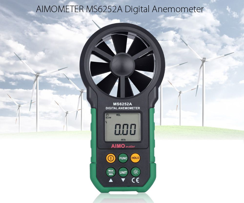 AIMOMETER MS6252A Handheld Digital Anemometer Air Speed Velocity Meter LCD Backlight Wind Speed Measurement