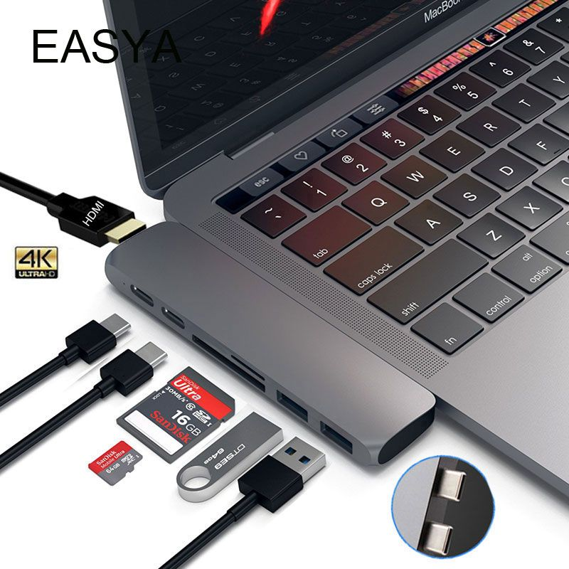 EASYA Dual USB 3.1 Type-C Hub To HDMI Adapter 4K Thunderbolt 3 USB C Hub with USB Hub 3.0 TF SD Slot PD for MacBook Pro 2017