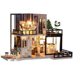 Merakit Diy Rumah Boneka Mainan Kayu Miniatura Rumah Boneka Miniatur Rumah Boneka Mainan dengan Furnitur Debu Cover LED Hadiah Ulang Tahun