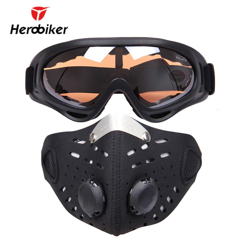 HEROBIKER Ski Glasses Sport Half Face Mask Outdoor Ski Mask Ride Bike Mask Neoprene Bicycle Cycling Motorcycle +Colorful Goggle