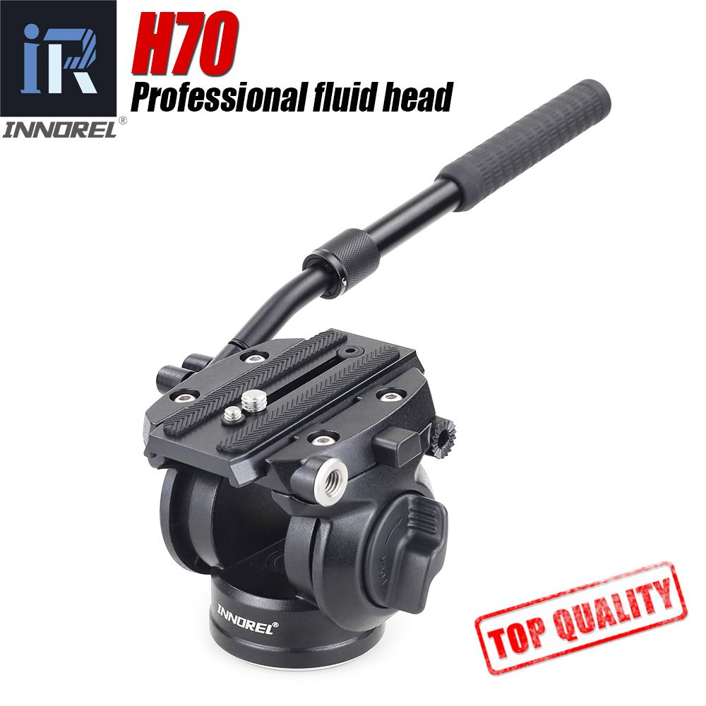 H70 Video Tripod head Fluid monopod Head Hydraulic Damping for DSLR camera Bird Watching 8kg load Portable 2 sections handle