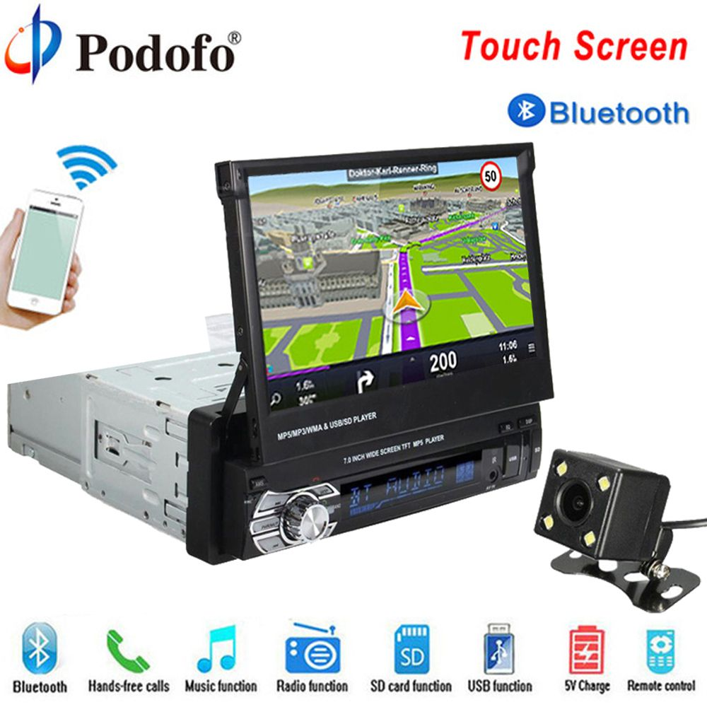 Podofo Autoradio Autoradio GPS Bluetooth Auto DVD-Player 1 din 7