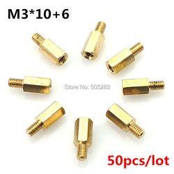 50pcs Motherboard Riser M3x10+6 Hexagon Copper Screws M3*10mm Hex Head Nut Computer PC Repair Power Screw Washer Tool HY028
