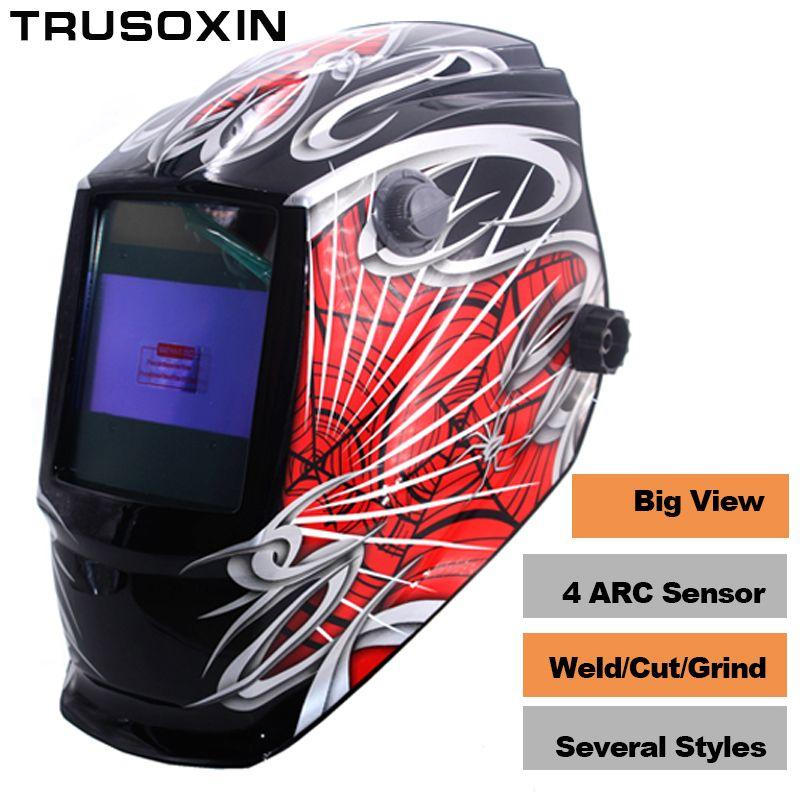 Pro Rechangeable Battery 4 Arc Sensor Solar Auto Darken/Shading Grinding Tig Arc Big <font><b>View</b></font> Welding helmet/Welder Goggle/Mask/Cap
