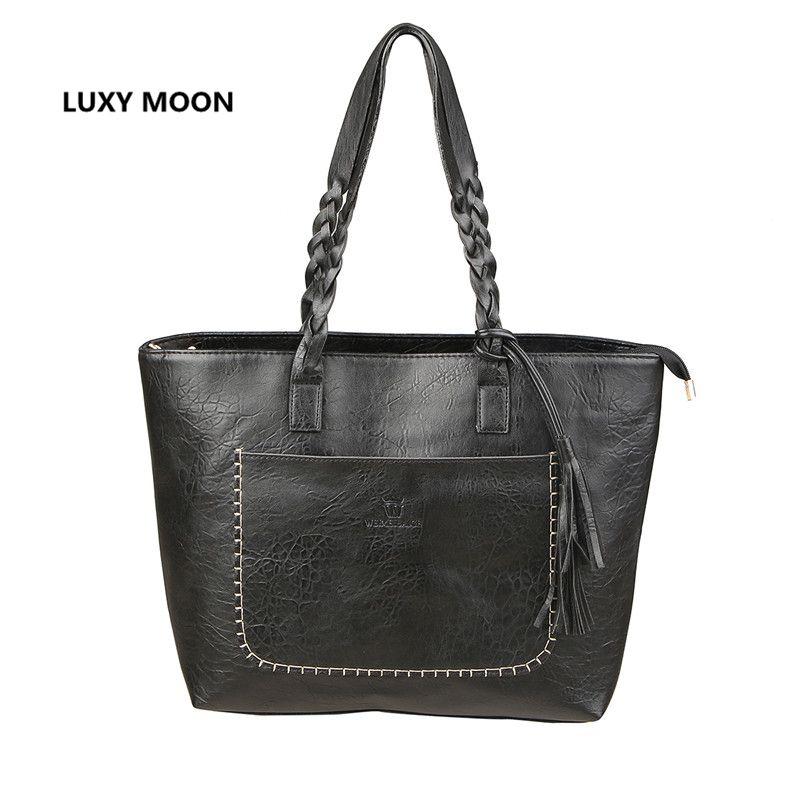 PU Leather Tassel Handbag Women Purse Shopper Tote Luxury Design sac a main High Quality Vintage Fashion Shoulder Bag Dropship