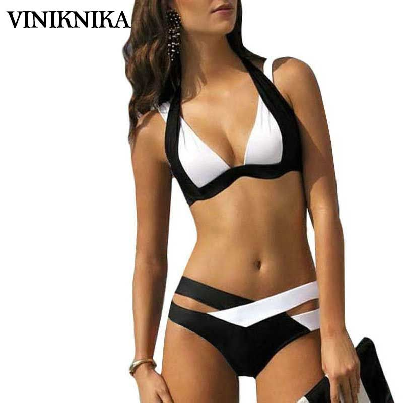 VINIKNIKA 2017 new split color female swimsuit <font><b>cross</b></font> sexy bikini ladies swimwear Top Beach wear Bathing Suits maillot de bain