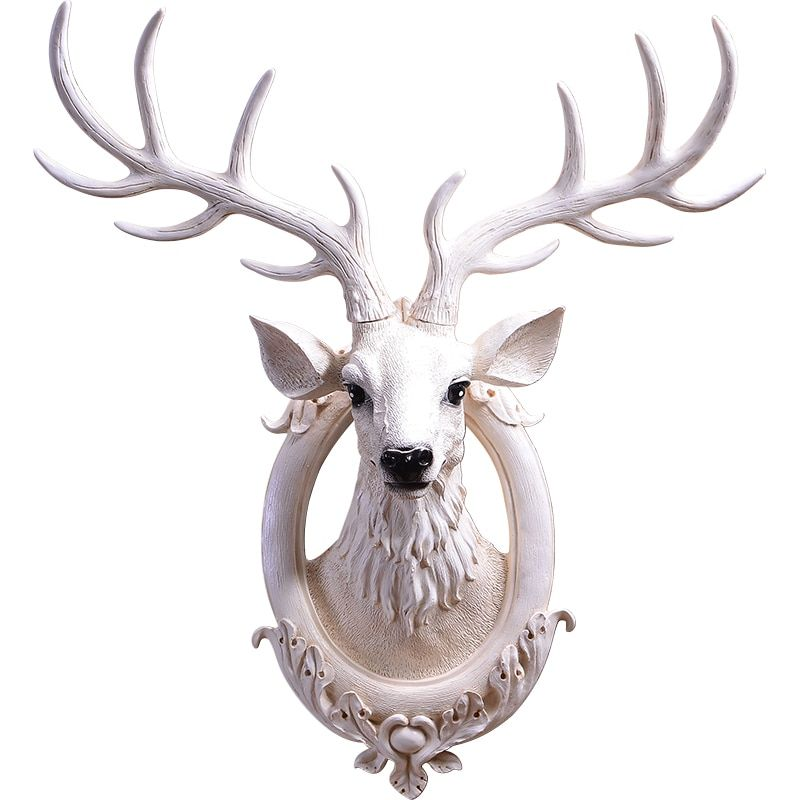 Simulation Deer Head Wall Pendant Wall Decoration Nordic American Retro Living Room Porch Bar White Decoration Hanging Crafts