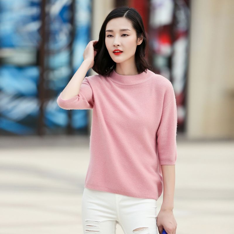 2017 Women Half Sleeves 100% Cashmere Pullovers Solid Color O Neck Knitting Casual Sweater Autumn/winter Outerwear Clothing