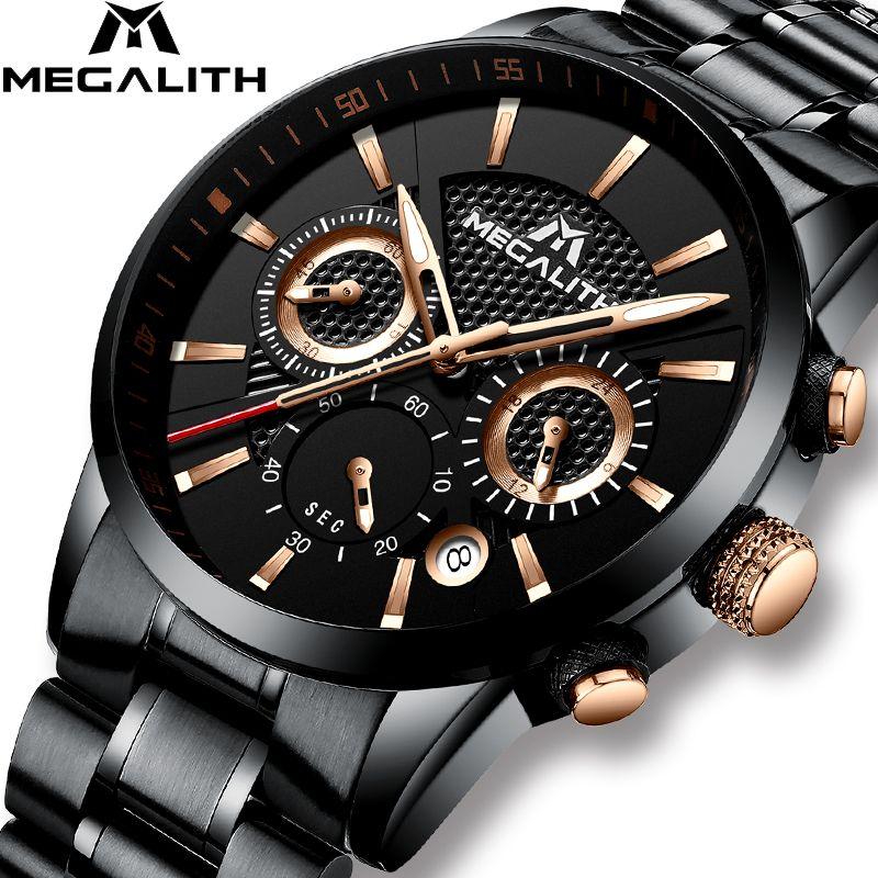 MEGALITH Herren Uhren Luxus Wasserdichte Chronograph Militär Sport Uhr Für Männer Datum Analog Männlichen Handgelenk Uhren Relogio Uhr
