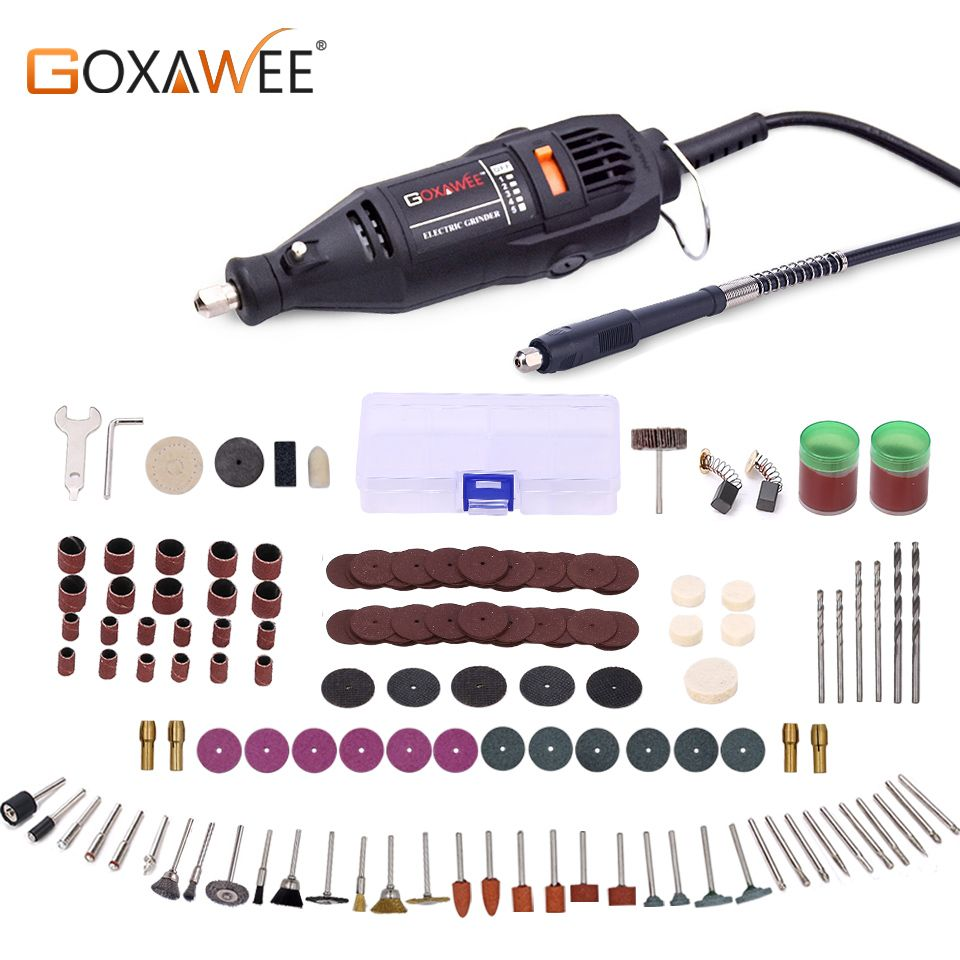 GOXAWEE Electric Drill Engraver Mini Drill Grinder Dremel Rotary Tool Kit With Dremel Accessories Drilling Machine Power Tool