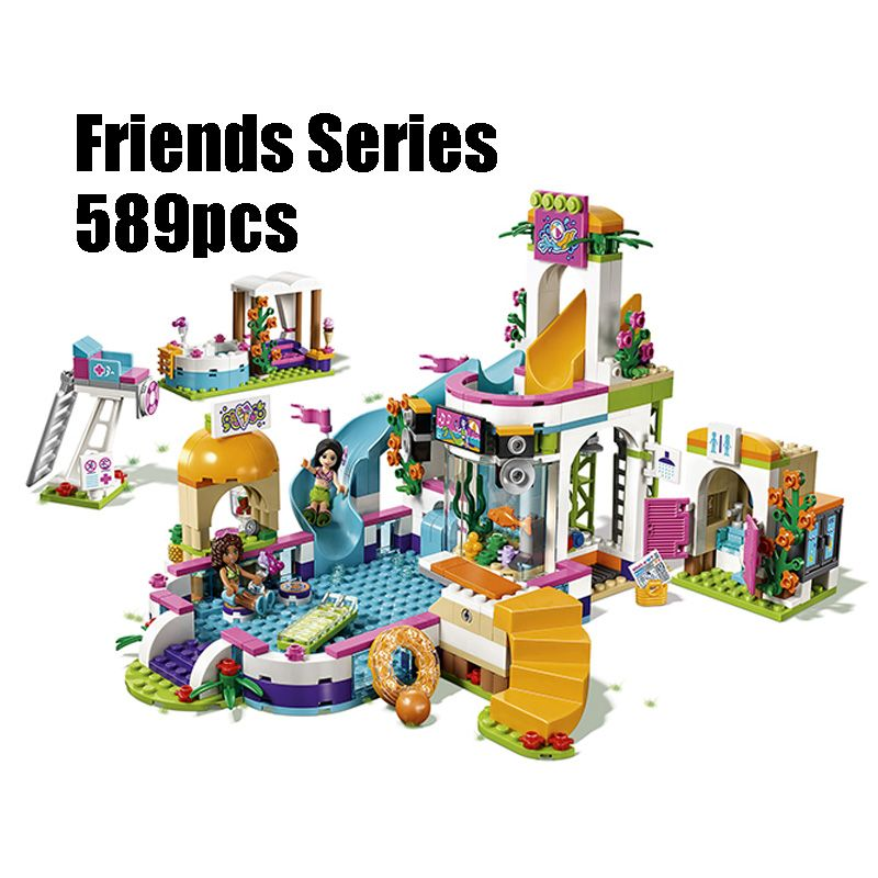 Compatible with Lego Friends 41313 01013 589pcs building blocks The Heartlake Summer Pool Bricks figure toys for children