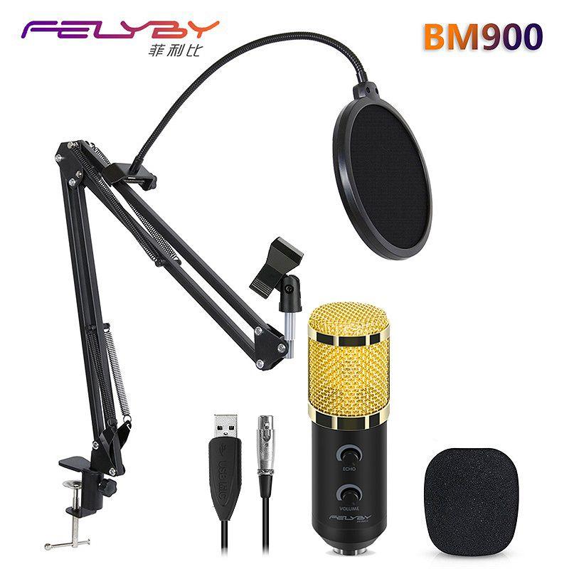 HOT!!! FELYBY bm 800 upgraded bm 900 Professional Studio Karaoke USB Condenser Microphone for Computer Video Recording Mikrofon