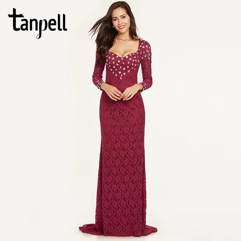 Tanpell lace mermaid evening dress burgundy beaded full sleeves floor length gown women prom sweep train formal evening dresses