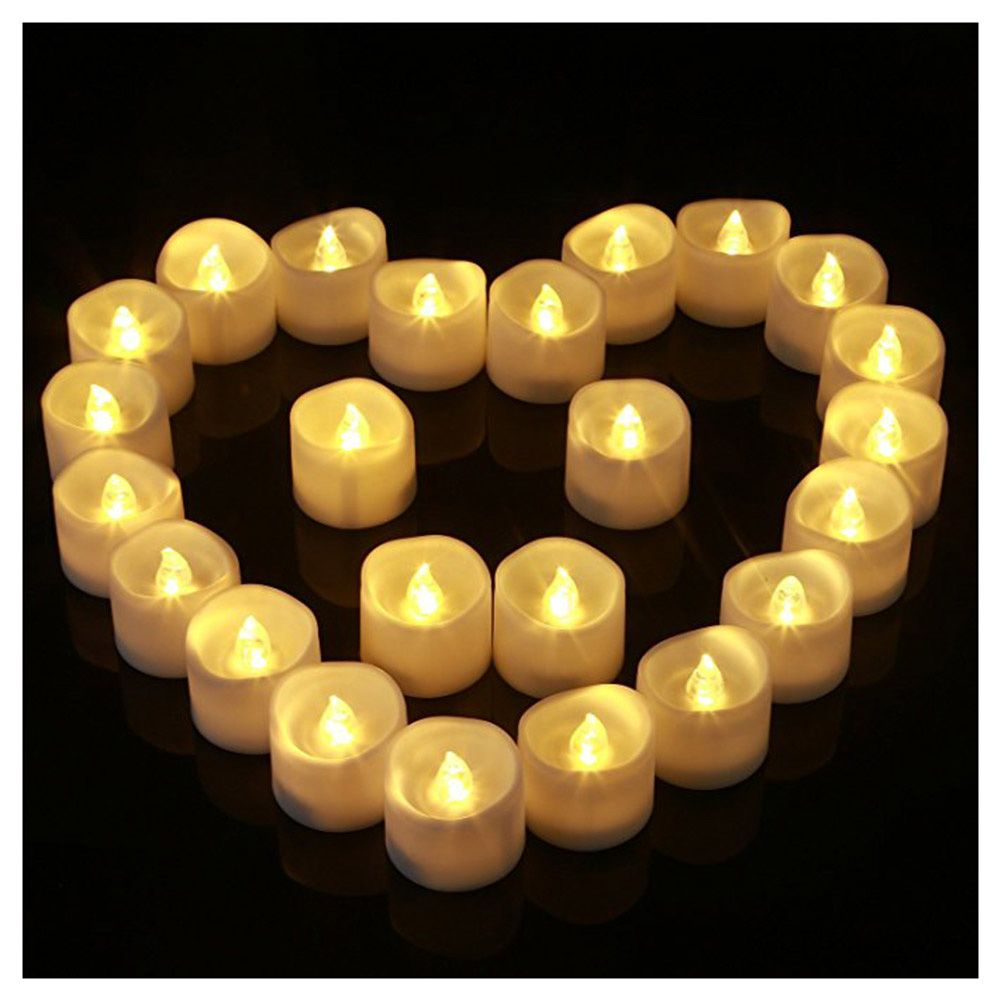 12Pcs/Lot Bright Flickering Flameless LED Tea Light Electric Fake Candle Battery Operated Home Decor --M25
