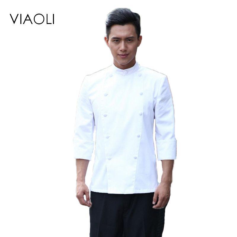 Viaoli Uniformes de Chef de Alta Calidad Ropa de Los Hombres de Manga Corta de Servicios de Alimentos de Cocina Tamaño Uniforme de Vestir Chaquetas Trajes Hotel 063